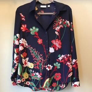 New York & Company Floral Button Down